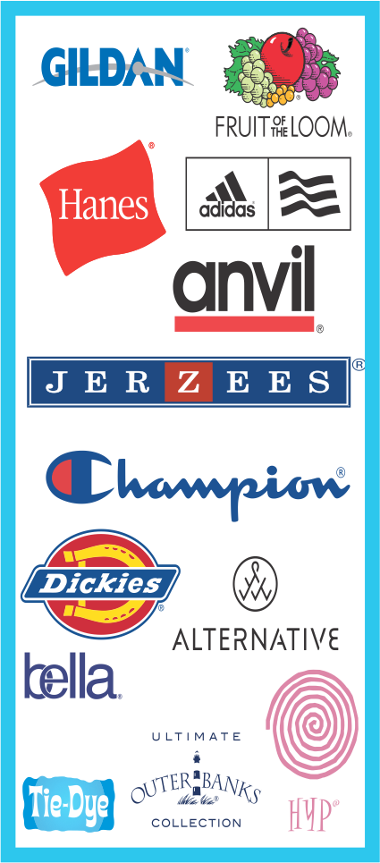 Gildan, Hanes, Fruit of the loom, Jerzeez, Anvil, Bella, Champion