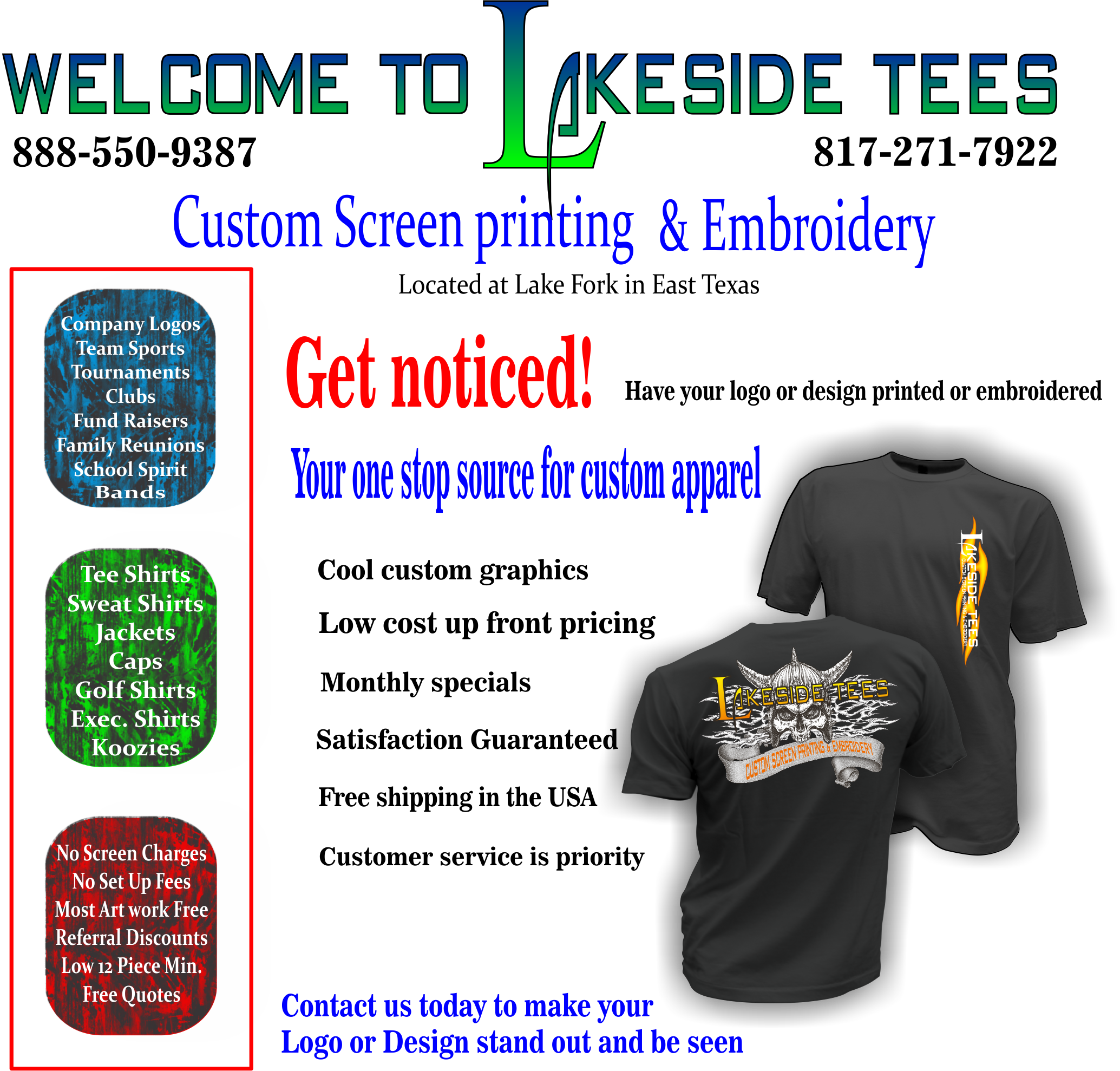 Custom screen printing,tee shirts,cool graphics,shirt printing,screen printing in east texas,embroidery